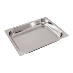Paderno World Cuisine - 14 in. by 12 1/2 in. Stainless-steel Baking Sheet for Hotel Pan - This 14 in.  by 12 1/2 in.  stainless-steel baking sheet for the hotel pan is a standard size which fits into universal racks, heating elements and walk-in coolers. This standard was intended to rationalize the working processes in food industry operations by creating a high level of compatibility of kitchen equipment. All inserts are stackable and have rounded reinforced edges. They are made of 21-gauge, 18/10 mirror-polished stainless-steel. They have seamless construction and are durable, corrosion-resistant and non-tarnishing. They do not react to any food and protect flavors. In addition to in-process control during manufacturing and fabrication, these metals have met the specifications developed by the American Society for Testing and Materials (ASTM) with regard to mechanical properties such as toughness and corrosion resistance. The Palermo series is a part of a lineage of cookware more than 80 years old. It is NSF approved.