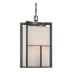 "Braxton 9"" Post/Hanging Lantern - Braxton post/hanging lanterns feature the craftsmanship of forged iron, skillfully performed, creating intersections of textured metal with smooth glass blending modern with new transitional elegance. These fixtures are built with steel and certified for wet locations to look great and last for years to come."