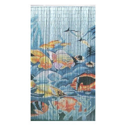 "Bamboo54 - Bamboo Fishes Ii Scene - Bamboo54 fishes II scene is made from authentic bamboo and hand strung. One curtain contains 90 strands across and is the perfect door hanging accessory. Hand painted on both sides. Measures approximately 36"" x 80"""