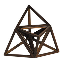 """Inviting Home - Platonic Figure - Fire (Elevated) - Platonic figure - Fire (elevated); 7-1/4"""" x 7-1/4"""" x 7-1/4""""H; The Element - Fire; a Platonic figure of 12 triangles (elevated tetrahedron). From delicate pieces of wood skilled craftspeople hand construct these fragile forms truly resembling the beauty and harmony of nature's perfection."""