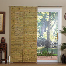 Radiance - Panel Track Bamboo Blind in Java Natural - Bring an exotic look to any room while maintaining the insulating qualities of a natural product. The Bamboo Panel Track is the ideal solution for sliding doors, extra-large windows, picture windows, or as an inexpensive room divider. The track insures the panels stay in place, moving in unison without risk of damage due to swinging. Features: -Blind. -Java natural color. -Perfect for large windows, patio doors, or as a room divider. -Wand control; panels stack neatly when not in use. -Light filtering and energy efficient. -Mounts easily; four panels and all hardware included.