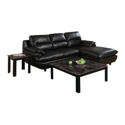 Monarch Specialties - Monarch Specialties 7988 3-Piece Marble Top Coffee Table Set in Black with Gray - Make a statement in your living room with a three piece occasional table set that's sure to take center stage. This versatile accent table group includes a square coffee table and two matching end tables that make a stylish addition to casual or contemporary decor. Marble look tops draw the eye with their muted shades of black, onyx and gray and provide a durable yet beautiful surface for placing drinks and decorative accents. A sophisticated cappuccino finish wraps the base of the coffee and end tables.