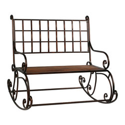 "Winward Designs - Rocking Garden Bench 41"" Wide Metal Antique Brown by Winward Designs - Kick back and relax on the front porch, in the garden...wherever. This rustic brown metal bench is 41 inches tall, 41 inches wide and 41 inches deep. Some very easy assembly required."