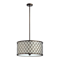 Cyan Design - Cyan Design Large Byzantine Transitional Pendant Light X-85640 - The exquisite design of this transitional pendant light is heightened by a shade of White Linen! Delicate Moroccan inspired patterns line the cylindrical shade and are beautifully finished in Oiled Bronze.