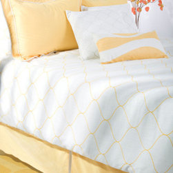 Rizzy Rugs - Sutton White Queen Duvet with Poly Insert Bed Set - - Construction: Quilting, embroidered, welting and woven linen texture fabric details  -  Undulating linear waves of saturated yellow stretch across a brilliant white background in this stunning duvet ensemble that will infuse any interior with fresh energy. Decorative accent pillows with quilting and shimmering all over embroidery complete this dazzling set making this the ideal addition to any transitional home.  - Care and Cleaning: Machine wash separately, hand wash 11x21 accent pillow Rizzy Rugs - BT0774 Q