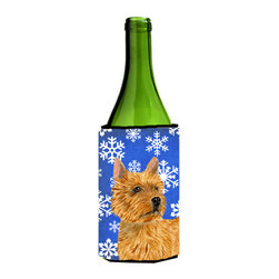 Caroline's Treasures - Norwich Terrier Winter Snowflakes Holiday Wine Bottle Koozie Hugger - Norwich Terrier Winter Snowflakes Holiday Wine Bottle Koozie Hugger Fits 750 ml. wine or other beverage bottles. Fits 24 oz. cans or pint bottles. Great collapsible koozie for large cans of beer, Energy Drinks or large Iced Tea beverages. Great to keep track of your beverage and add a bit of flair to a gathering. Wash the hugger in your washing machine. Design will not come off.