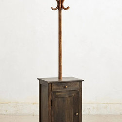 Coat Rack Cabinet - Double-duty furniture right here: This piece is the best of a coat rack and a small cabinet. Count on it to hold your coats and hats, as well as your gloves and scarves, and even purses or shoes below. It's an all-in-one closet.
