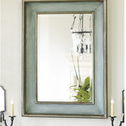 """Ballard Designs - Ogden Mirror - Generous 1 1/4"""" bevel. Hand finished wood frame. Hang vertically or horizontally. The closer you get to our Ogden Mirror, the ore you can appreciate the depth of color and quality. The recessed wood frame is hand finished with lightly antiqued silver leaf details.Ogden Mirror features: . . ."""