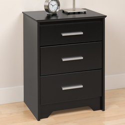 "Prepac - Coal Harbor Black Tall 3 Drawer Night Stand - Accent your bedroom with our sophisticated Coal Harbor Tall 3 Drawer Nightstand. Finished in sleek black or rich espresso laminates, this night stand offers 3 inset drawers, two full-size and one shallow, each with a trendy, 6"" long rectangular handle in matte metal. The night stands MDF top has been finished with bevelled edges, while the base features angled cut-outs, enhancing the clean, contemporary style. This slender piece will be right at home at any bedside: at 20"" wide, its the perfect storage solution for small spaces. This product ships Ready to Assemble"" and includes an instruction booklet for easy assembly."