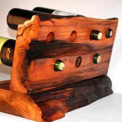 Counter top wine rack Yew Wood - Yew Wood live edge wine display