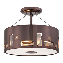 Kovacs - Kovacs P1091-631 3 Light Semi-Flush Ceiling Fixture in Chocolate Chrome - Three Light Semi-Flush Ceiling Fixture from the Bling Bang CollectionFeatures: