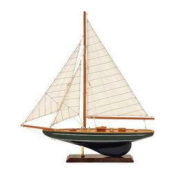 Small Wooden Sailboat Desktop Statue - *Nautical accent wood sail boat on stand with canvas sails.