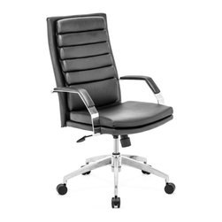 Zuo Modern - Director Comfort Office Chair Black - This chair has a leatherette wrapped seat and back cushions with chrome solid steel arms with leatherette pads. There is a height and tilt adjustment with a chrome steel rolling base.