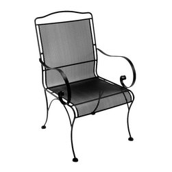 O.W. Lee Avalon Dining Arm Chair - The O.W. Lee Avalon Dining Arm Chair offers simple sophistication with luxury and style. Boasting the comfort and style of micro mesh in the seat and back, this chair puts a new twist on the time-honored design with features like the spiraled arms and hand-crafted wrought iron construction. Weight: 33 pounds. Dimensions: 23W x 26D x 38H inches.Materials and construction:Only the highest quality materials are used in the production of O.W. Lee Company's furniture. Carbon steel, galvanized steel, and 6061 alloy aluminum is meticulously chosen for superior strength as well as rust and corrosion resistance. All materials are individually measured and precision cut to ensure a smooth, and accurate fit. Steel and aluminum pieces are bent into perfect shapes, then hand-forged with a hammer and anvil, a process unchanged since blacksmiths in the middle ages.For the optimum strength of each piece, a full-circumference weld is applied wherever metal components intersect. This type of weld works to eliminate the possibility of moisture making its way into tube interiors or in a crevasse. The full-circumference weld guards against rust and corrosion. Finally, all welds are ground and sanded to create a seamless transition from one component to another.Each frame is blasted with tiny steel particles to remove dirt and oil from the manufacturing process, which is then followed by a 5-step wash and chemical treatment, resulting in the best possible surface for the final finish. A hand-applied zinc-rich epoxy primer is used to create a protective undercoat against oxidation. This prohibits rust from spreading and helps protect the final finish. Finally, a durable polyurethane top coating is hand-applied, and oven-cured to ensure a long lasting finish.About O.W. Lee CompanyAn American family tradition, O.W. Lee Company has been dedicated to the design and production of fine, handcrafted casual furniture for over 60 years. From their manufacturing facility in Ontario, California, the O.W. Lee artisans combine centuries-old techniques with state-of-the-art equipment to produce beautiful casual furniture. What started in 1947 as a wrought-iron gate manufacturer for the luxurious estates of Southern California has evolved, three generations later, into a well-known and reputable manufacturer in the ever-growing casual furniture industry.