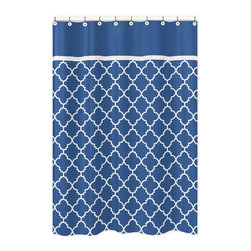 Sweet Jojo Designs - Sweet Jojo Designs Blue/ White Trellis Shower Curtain - A trendy trellis texture adds terrific style to this Sweet Jojo Designs shower curtain. Crafted with soft brushed microfiber,this blue and white shower curtain will bring refreshing color to any master,children's or guest bathroom.