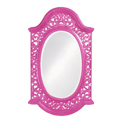 Howard Elliott - Howard Elliott Bristol Glossy Hot Pink Oval Mirror - Oval Bristol glossy hot pink mirror