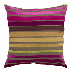 Surya Rugs - Raspberry Wine and Multi Colored Striped 22 x 22 Pillow - Trendy stripes bring fun to any space. Colors of fuschia, plum, gold, and green accent this decorative pillow. This pillow contains a poly fill and a zipper closure. Add this 22 x 22 pillow to your collection today.  - Includes one poly-fiber filled insert and one pillow cover.   - Pillow cover material: 60% Viscose, 40% Cotton Surya Rugs - JS020-2222P