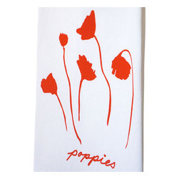 """Kimball Prints - Poppies Tea Towel - This Poppies Tea Towel is part of a series of Wildflower Tea Towels inspired by the spring wildflowers of the Texas Hill Country + California Coast! Perfect to brighten your kitchen or bath! It also makes an elegant hostess gift for your favorite wildflower lover. This design began as a watercolor sketch, which was then screen printed by hand with non-toxic ink on each tea towel in a soft lavender pink. Each towel is 100% cotton   soft, functional + absorbent   22"""" x38"""" inches. non toxic inks   100% cotton towels sources from Michigan  always hand made Machine wash cold. Hand-printed with love in Austin, Texas."""