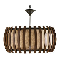 ecofirstart - Dado Pendant - A rounded rectangular shape is accented with vertical slats of polished fruitwood that surround a coarse linen diffuser. This Putty Linen material and the wooden slats are reminiscent of mid-century modern design.