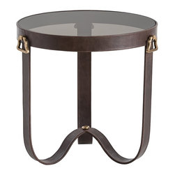Arteriors - Arteriors DD2046 Stirrup End Table - Arteriors DD2046 Stirrup End Table made with Chocolate Leather/Antique Brass Handles/Smoked Glass.