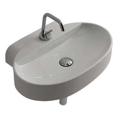 """WS Bath Collections - Cento 3553 Wall Mount or Counter Top Ceramic Sink 23.6"""" x 15.7"""" - Cento by Wes Bath Collections Bathroom Sink 23. 6 x 15.7, Designed by Marc Sadler of Italy, counter top or wall mount installation, in ceramic white"""