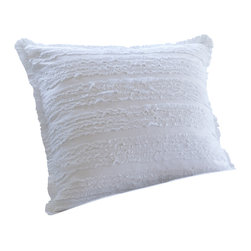Taylor Linens - Ruffle White Euro Sham - This softly ruffled sham is the epitome of vintage country romance. Simple yet surprisingly sensual, you won't be able to stop running your fingers over those cambric ruffles. Fear not, it's machine washable too.