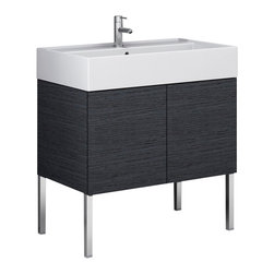 Iotti - 31 Inch Vanity Cabinet With Ceramic Sink - This stylish, modern bathroom vanity set includes a vanity cabinet with 2 doors made of engineered wood in a gray oak finish. Vanity set includes perfect fit white ceramic bathroom sink. Vanity set does not include faucet or legs, however includes mounting instructions. Made and designed in Italy by high-end bathroom brand Iotti.
