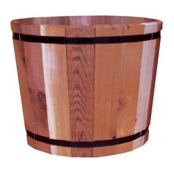 Western Red Cedar Large Barrel - I like the red tones of this barrel planter. It's made from cedar, making it rot-resistant. And it will tighten naturally, so there is no need for a liner.