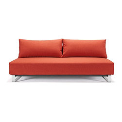 """Innovation USA - """"Innovation USA"""" Supermax Sleek Mixed Dance Orange Sofa with Chrome Legs - """"Innovation USA"""" Supermax Sleek Mixed Dance Orange Sofa with Chrome Legs add bright colors to your home decor. It has a modern style with high quality materials. Sofa features Excess pocket spring, that make sofa more comfortable. It has orange upholstery and chrome legs.    Features:"""