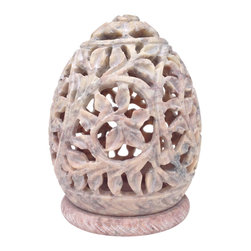 SouvNear - Soapstone Tealight Candle Holder with Intricate Tendril & Floral Openwork - * An intricately carved tealight / votive holder sculpture... the piece de resistance amongst all tealight holders... See the magic come alive in the dark when you place a tealight inside the stone sculpture. The intricately carved patterns get imposed on the surface, on which you keep the sculpture.