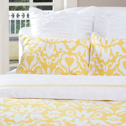 The Montgomery Marigold Yellow - A pop of color, pattern play and a luxurious fabric. With its modern take on the traditional damask floral pattern, the Montgomery duvet cover will instantly brighten any bedroom.