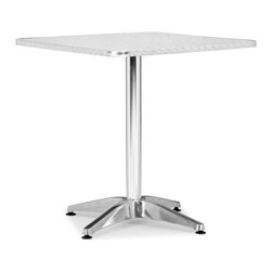 Zuo Modern - Christabel Square Table Aluminum - Sitting on a busy street corner, drinking a cup of coffee, updating the daily blog, while having a meal, the Christabel series is the perfect table to fit any cafE setting. This all aluminum table is MDF wrapped. The base sits on adjustable feet to contour to level. This series comes with everything as well as an adjustable a fix, ranging from table height to bar height. The Christabel is perfect for any setting.