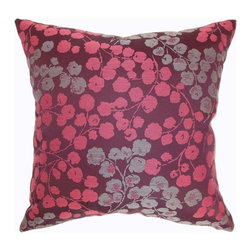 """The Pillow Collection - Fleur Floral Pillow Bourdeaux 20"""" x 20"""" - This luxurious throw pillow is an enchanting accent piece that you can add to your home. This decor pillow features a luscious Bordeaux color in deep reds, soft pinks and gorgeous grey. This square pillow is romantic and plush. The 20"""" inch pillow is made from 100% satiny smooth polyester fabric. You can choose the options for adding piping and other details to make this accent pillow more stunning. Hidden zipper closure for easy cover removal.  Knife edge finish on all four sides.  Reversible pillow with the same fabric on the back side.  Spot cleaning suggested."""