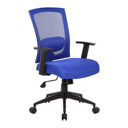 BossChair - Boss Mesh Back Task Chair - Contemporary chair upholstered in Blue mesh material, which allows air to pass through, adding to long term comfort by preventing body heat and moisture build-up. Breathable mesh fabric seat. Adjustable height armrests. Spring-tilt mechanism. Pneumatic gas lift seat height adjustment. Adjustable tilt tension control. 25 nylon high base. Hooded double wheel casters.