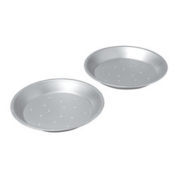Chicago Metallic - Chicago Metallic Commercial II  Perforated 2-Piece Pie Pan Set - Is that impeccably browned, flaky pie crust eluding you in your quest for pie perfection? Good news: It's not you, it's your pan. These pro-grade pans are made from heavy-weight aluminized steel, known for its superior heat conductivity and even baking, and perforated on the bottom to provide regular airflow all around the crust. So, that's how the pros do it... .