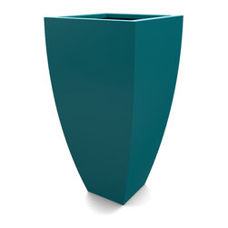 Decorpro - Large Corby Planter, Teal - The Corby Planter evolved from a variation on the standard square pots. Although designed as a large outdoor planter, these tall elegant planters also look great indoors. With clean curved lines these modern planters add an impressive statement as commercial  planters or in private residences.