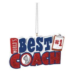 Midwest CBK - Best Coach Christmas Tree Ornament - Sports Team Winter Holiday Gift Decoration - Teachers Motivate Christmas Ornament
