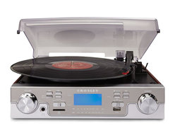 Crosley Radio - Crosley Radio Tech USB Turntable in Mahogany - Crosley Radio - Turntables - CR6007AMA. Blast into the vinyl preservation revolution with the CR6007A Tech Turntable. Simply plug in a USB or SD card to transfer music from your records giving you the flexibility to put the digital tunes on CDs or your MP3 player. The tech turntable's playback feature can also be used to listen to prerecorded MP3 files. Return to the days of platform heels and The Beatles' Abbey Road album as you admire the wood-styled casing mirror faceplate and streamlined dials. This Crosley turntable even features a PAR (portable audio ready) hookup for MP3 players and an analog AM/FM radio for more listening enjoyment.