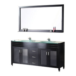 """Design Element - Waterfall 60"""" Double Sink Vanity Set in Espresso - The 61"""" Waterfall vanity is elegantly constructed of quality woods in an espresso finish which beautifully showcases the natural aqua color of the glass countertop. The integrated tempered glass counter top and sleek drop-in sink design bring contemporary elegance to any bathroom. This stylish design includes two double-door cabinets and three pullout drawers all adorned with satin nickel hardware. Included is a large framed mirror with shelf. The Waterfall Collection is a centerpiece designed to awe and inspire the eye without sacrificing functionality durability or quality."""