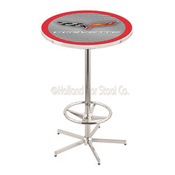 Holland Bar Stool - Holland Bar Stool L216 - 42 Inch Chrome Corvette - C6 Silver Pub Table W/ Red Ac - L216 - 42 Inch Chrome Corvette - C6 Silver Pub Table W/ Red Accent  belongs to General Motors Collection by Holland Bar Stool Made for the ultimate Corvette - C6 enthusiast, impress your buddies with this knockout from Holland Bar Stool. This L216 Corvette - C6 table with retro inspried base provides a quality piece to for your Man Cave. You can't find a higher quality logo table on the market. The plating grade steel used to build the frame ensures it will withstand the abuse of the rowdiest of friends for years to come. The structure is triple chrome plated to ensure a rich, sleek, long lasting finish. If you're finishing your bar or game room, do it right with a table from Holland Bar Stool.  Pub Table (1)
