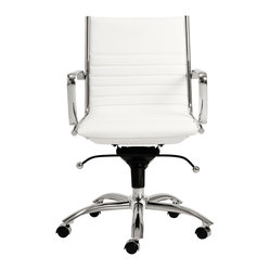 Dirk Low Back Office Chair-Wht/Chrm - Leatherette over foam seat and back