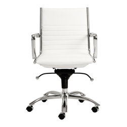 Eurostyle - Dirk Low Back Office Chair-Wht/Chrm - Leatherette over foam seat and back