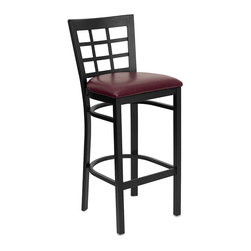 Flash Furniture - Flash Furniture Hercules Series Black Back Metal Bar Stool in Burgundy - Flash Furniture - Bar Stools - XUDG6R7BWINBARBURVGG - This heavy duty commercial metal bar stool is ideal for restaurants, hotels, bars, pool halls, lounges, and in the home. The lightweight design of the stool makes it easy to move around. The tubular foot rest not only supports your feet, but acts as an additional reinforcement that helps secure the legs. This stool will keep you comfortable with the easy to clean vinyl upholstered seat. You will not regret the purchase of this bar stool that is sure to complement any environment to fill the void in your decor. [XU-DG6R7BWIN-BAR-BURV-GG]