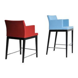 sohoConcept - Soho Wood Stools - Soho Stool Wood is a classy bar and counter stool with a comfortable upholstered seat and backrest on solid beech legs tipped with screwed plastic caps. The chair is suitable for both residential and commercial use.