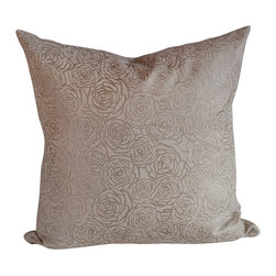 Cavern Home - Lottie Lars Pillow by Annika Connor, Metallic Silver - A rose is a rose is a rose. Yet here, hand-screened in metallic gold on 100 percent linen, roses create a sense of luxury and comfort for your favorite contemporary setting. Toss this pillow wherever you most enjoy relaxing in style.