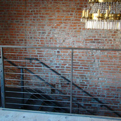SBI Steel Works - Cable Railing - Horizontal black stained steel with Galvanized steel cable system.