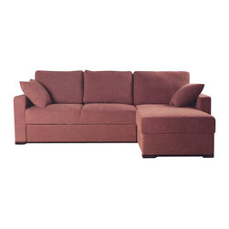 Beverly Hills Furniture Inc. - Incognito Sectional Sofa with Storage Chaise in Cocoa, Right Chaise - The Incognito Sectional Sofa with Storage Chaise in Cocoa will make your living room contemporary and stylish! This great sectional has polyester fiber basket weave fabric upholstery, kiln dried solid wood frame construction for durability, reinforced corner blocks for added strength.
