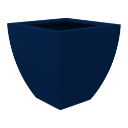 Decorpro - Medium Monaco Planter, Dark Blue - The Monaco Planter evolved from a variation on the standard square pots. Although designed as a large outdoor planter, these elegant planters also look great indoors. With clean curved lines these modern planters add an impressive statement as commercial  planters or in private residences.