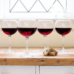 None - Personalized Red Wine Glasses (Set of 4) - Enjoy your favorite reds in sophisticated style with this set of four custom-engraved red wine glasses. Hand-blown,these glasses feature wide bowls that allow wine to breathe. Single-letter monograms are available at no extra charge.