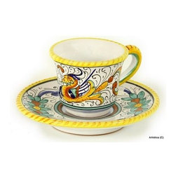 Artistica - Hand Made in Italy - Raffaellesco: Espresso Cup and Saucer - Raffaellesco Collection: Among the most popular and enduring Italian majolica patterns, the classic Raffaellesco traces its origin to 16th century, and the graceful arabesques of Raphael's famous frescoes.